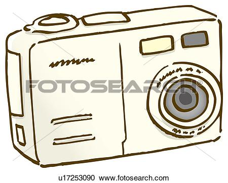 Stock Illustrations of Digital camera, close up, front view.