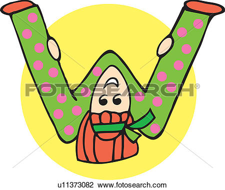 Clip Art of Close up view of girl forming alphabet W u11373082.