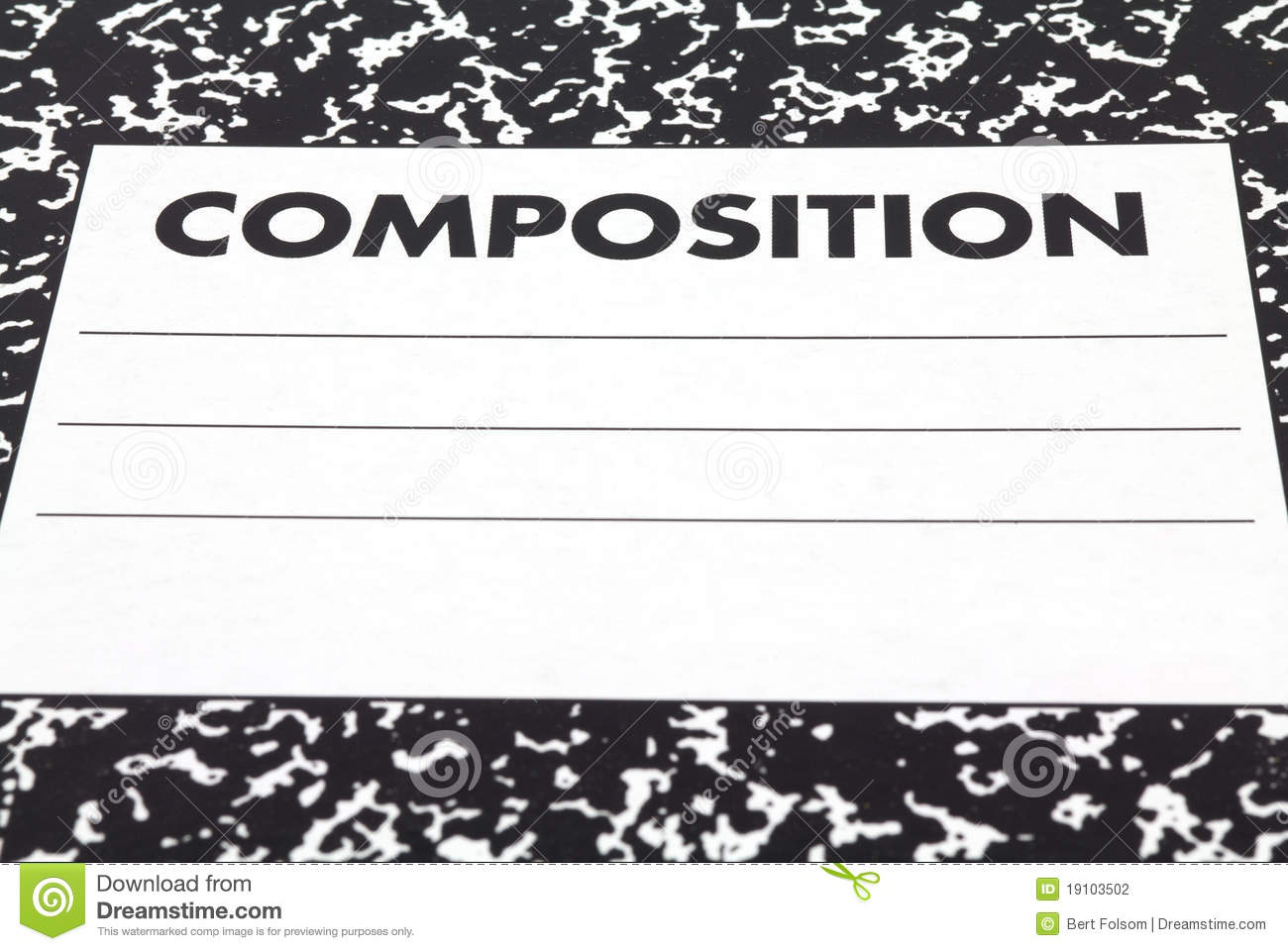 Close View Composition Notebook Cover Stock Photography Image.