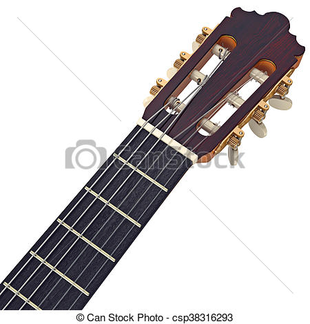 Stock Illustration of Headstock guitar with tuning.