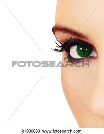 Clipart of Close view of woman eye. Vector k7036880.