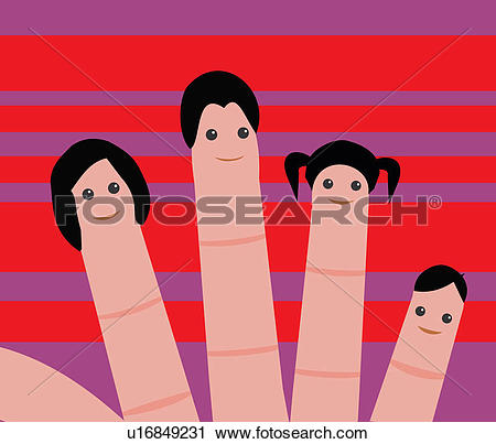 Clipart of Close up view of human faces drawn on fingertips.