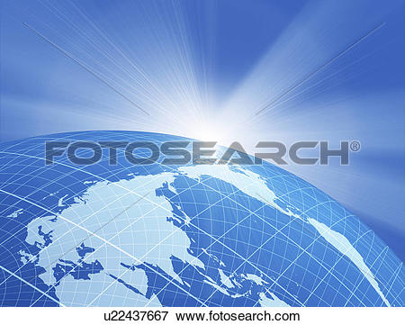 Stock Illustration of Close view of sparkling globe u22437667.