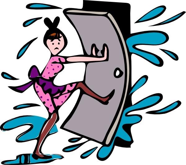 Girl Close Door clip art Free vector in Open office drawing svg.