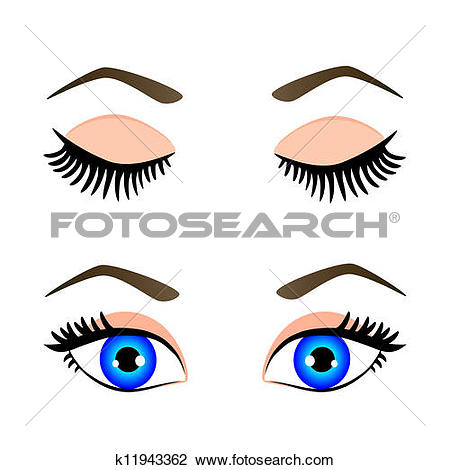 Clipart of closed eyes with eyelashes and eyebrows k9393590.