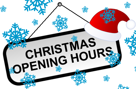 Christmas Opening Hours 2018.