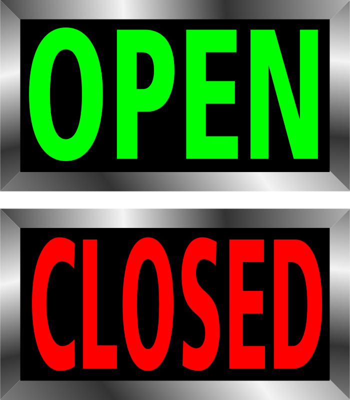 Free Clipart: Open and Closed signs.