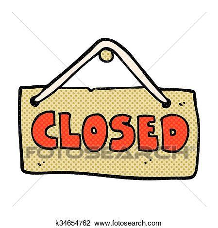 Cartoon closed shop sign Clipart.