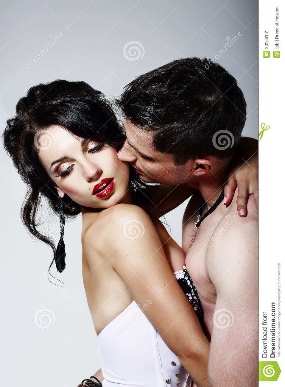 Intimacy. Couple Of Beloveds Kissing And Hugging. Closeness Stock.