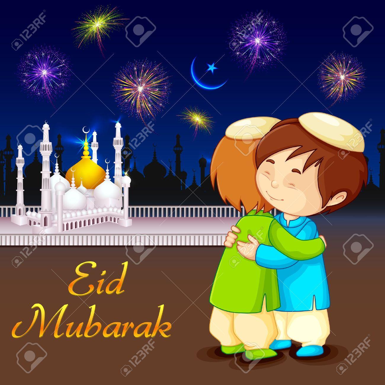 Vector Illustration Of People Hugging And Wishing Eid Mubarak.