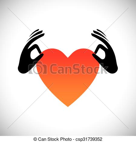 Clipart Vector of hand holding heart or love symbol vector logo.