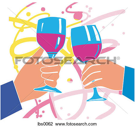 Clip Art of Closeup of two human hands toasting a party with two.