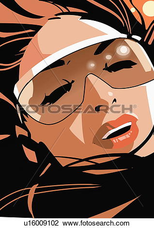 Clip Art of Closeup of woman wearing sunglasses with eyes closed.