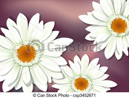 Clipart of White Gerbera Flower Close.