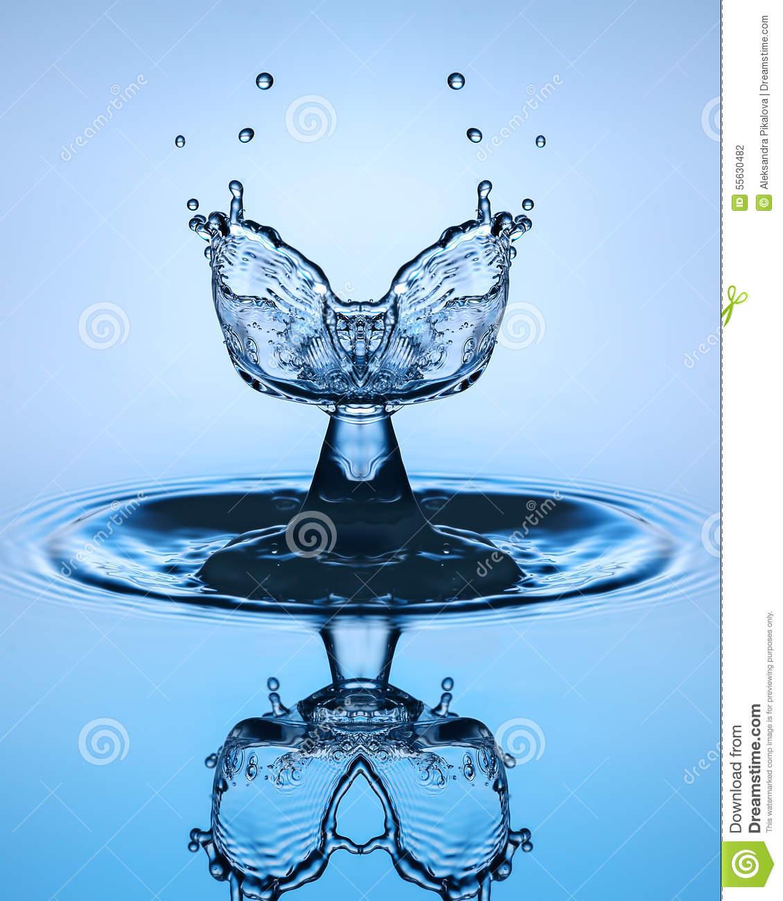 Water Drop Close Up. Water Sculpture. Stock Photo.