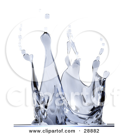 Clipart Illustration of a Closeup Of A Water Splash With Droplets.