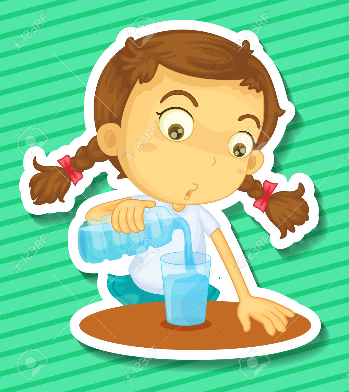 Closeup Girl Pouring Drinking Water Royalty Free Cliparts, Vectors.