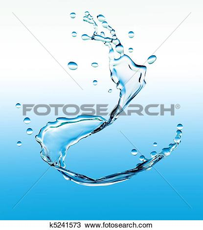 Drawing of 3d close up of the water splash k5241573.