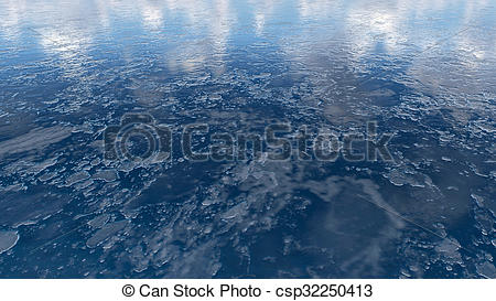 Clipart of Frozen water surface texture Close up.