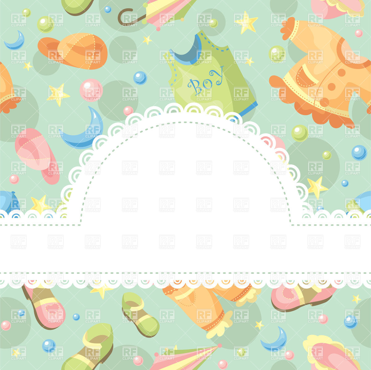 Background with baby clothing and accessories.