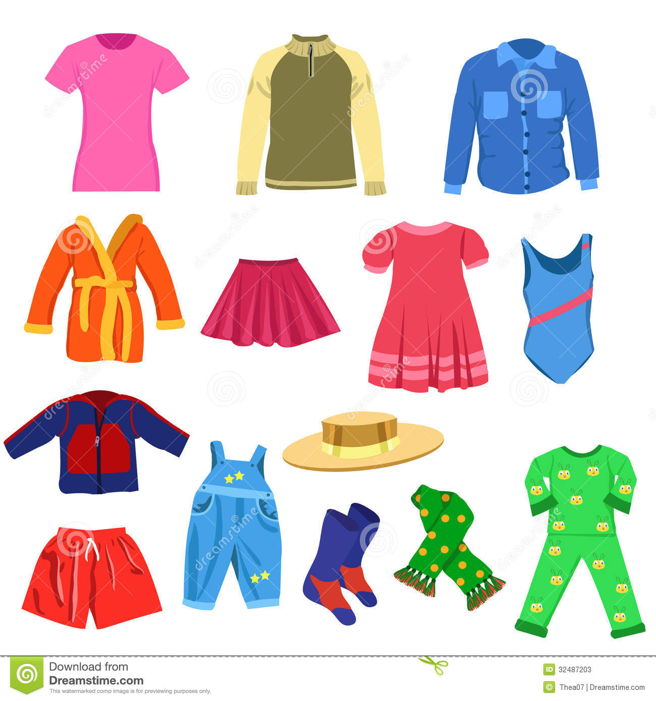 Set Of Vector Clothes Stock Photos.