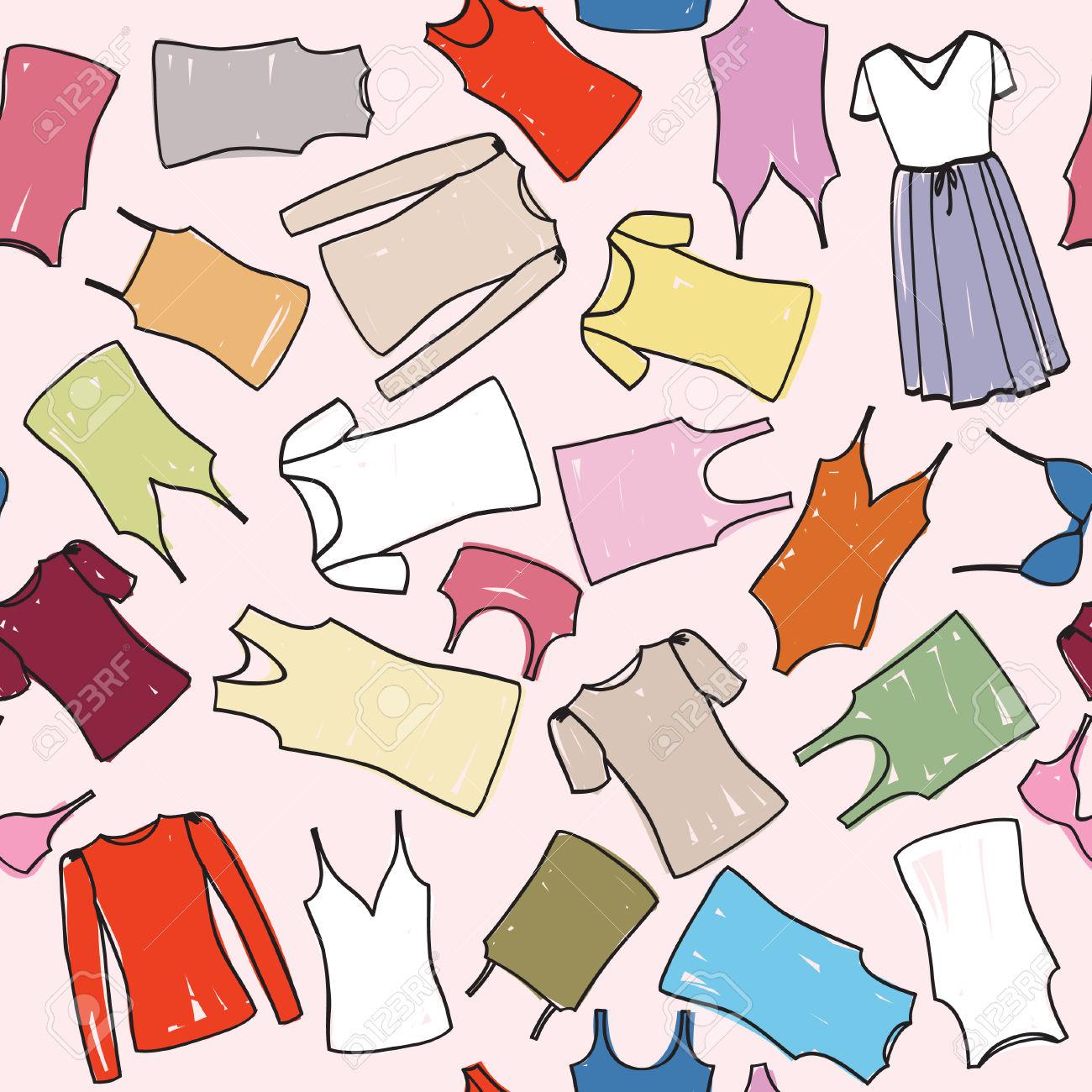 Cloth Seamless Patterm Fashion Dress Background Royalty Free.