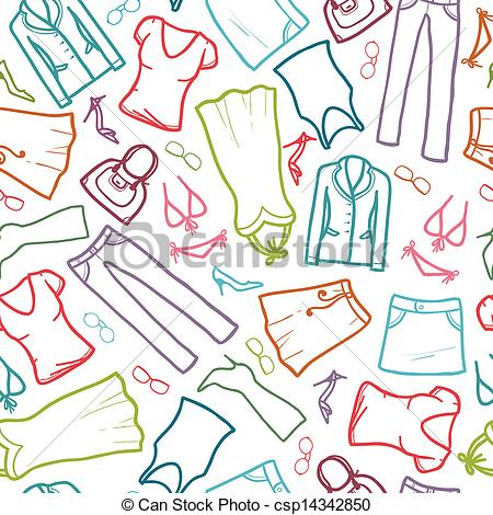 Clipart Vector of Wardrobe clothing seamless pattern background.