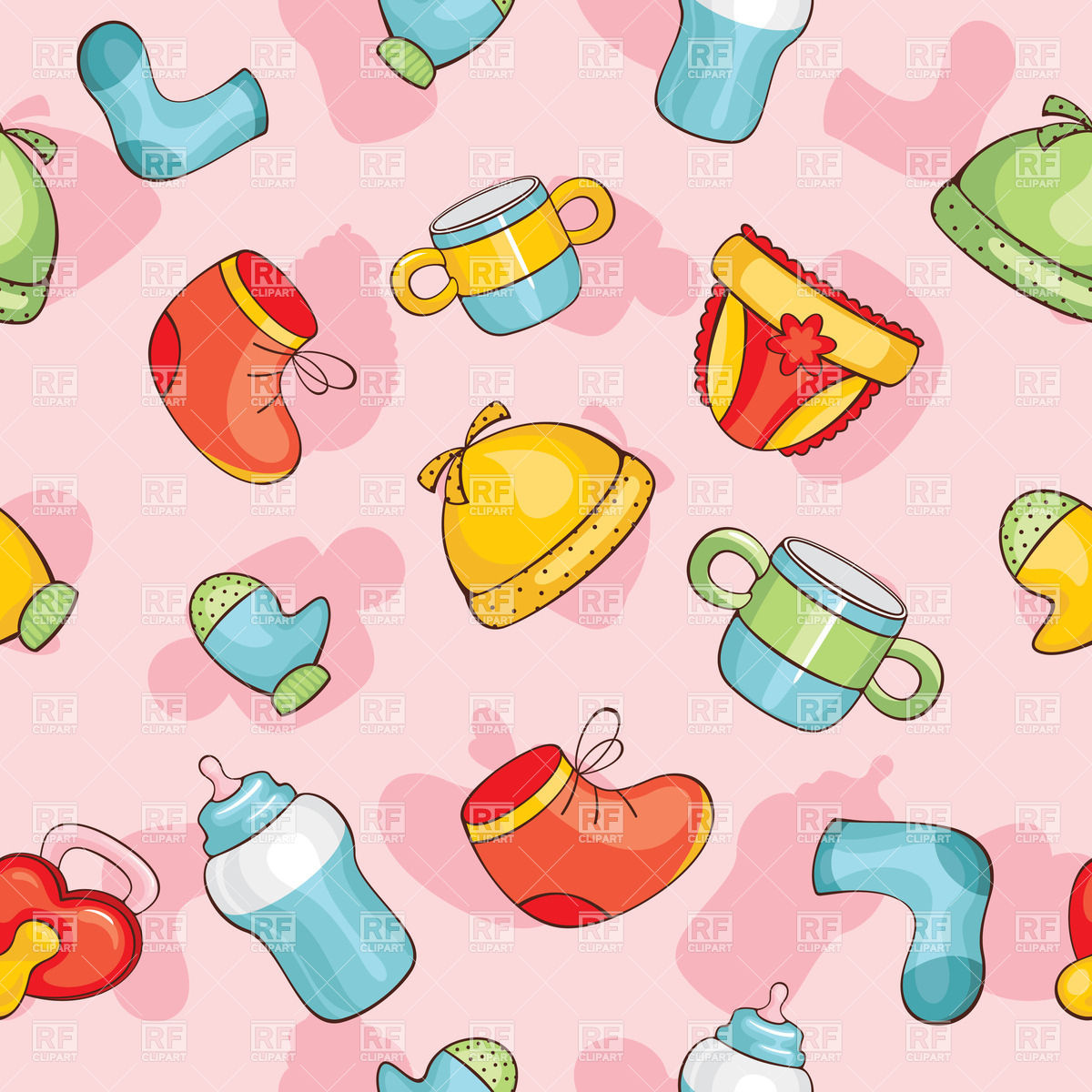 Cute pink seamless baby clothes background Vector Image #37719.