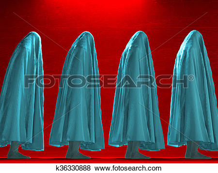 Stock Illustration of Figure hunched over under cloth k36330888.
