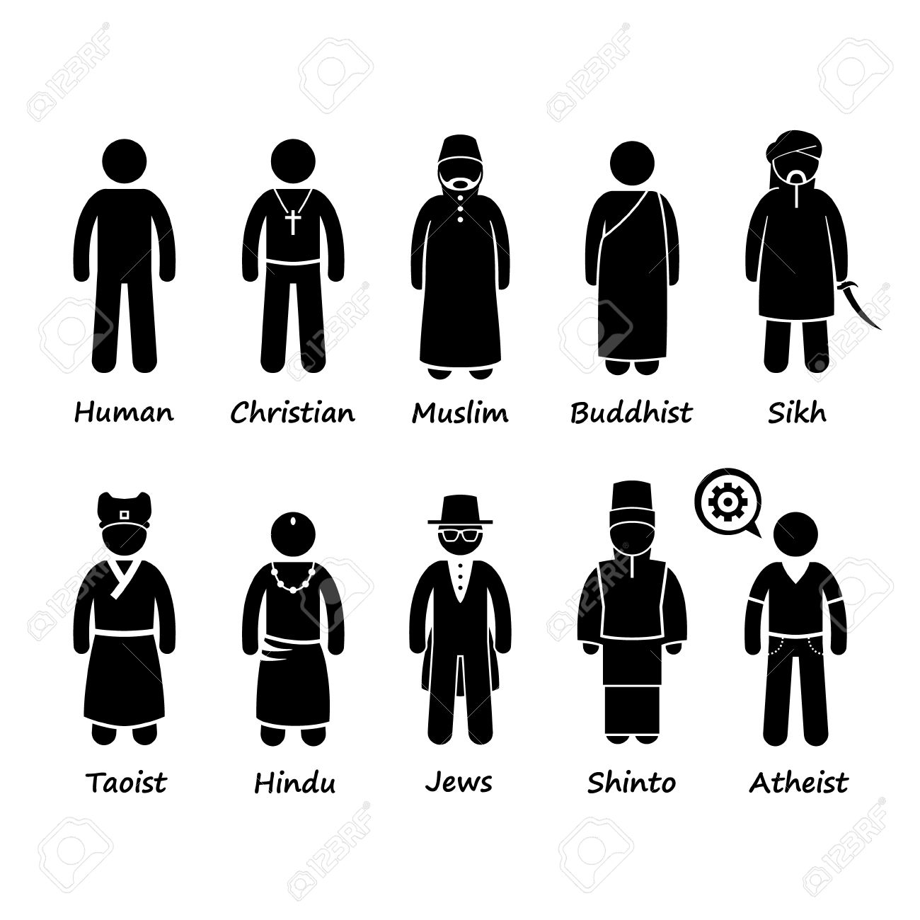 Religion Of People In The World Stick Figure Pictogram Icon.