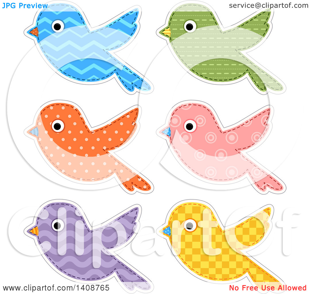 Clipart of Patterned Bird Cloth Designs.