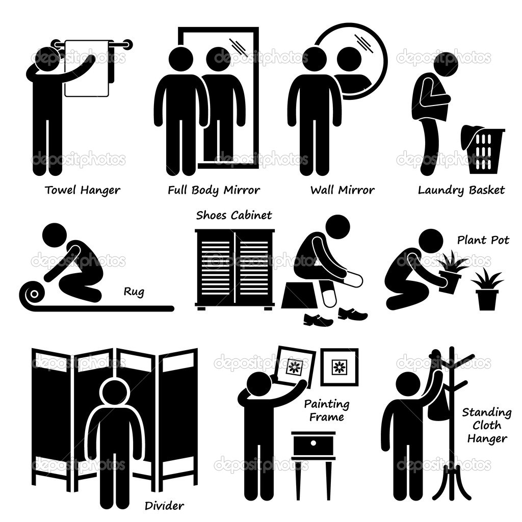 Home House Accessories and Decorations Stick Figure Pictogram Icon.