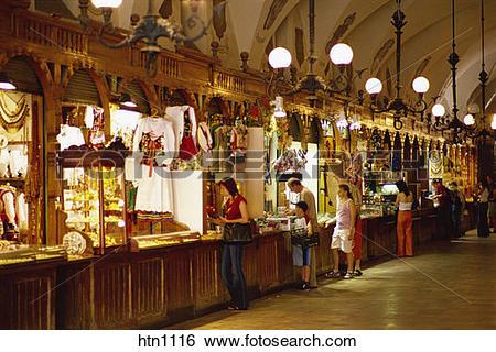 Stock Images of Arcade, Sukiennice, Cloth Hall, Market Square.