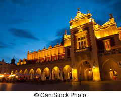 Picture of Cloth Hall or Sukiennice in Krakow by night.