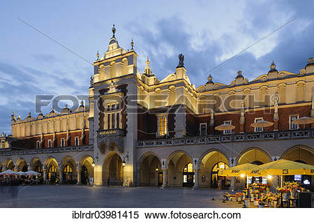 Stock Image of Cloth Hall on Main Square, Rynek Glowny, Krakow.