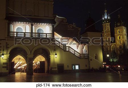 Stock Photo of Cloth Hall at Night Rynek Glowny Krakow Poland pld.
