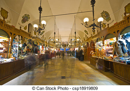 Stock Photography of Tourists shop in Sukiennice Cloth Hall in.