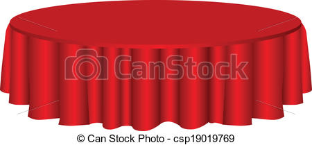 Clip Art Vector of Round table with tablecloth.