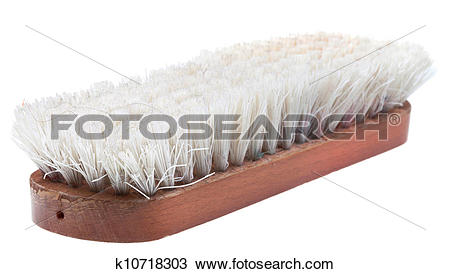 Stock Photo of old wooden clothes brush k10718303.