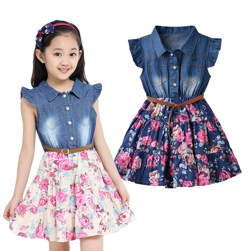 Summer Dresses For Girls Cotton Children Clothing Denim Baby.