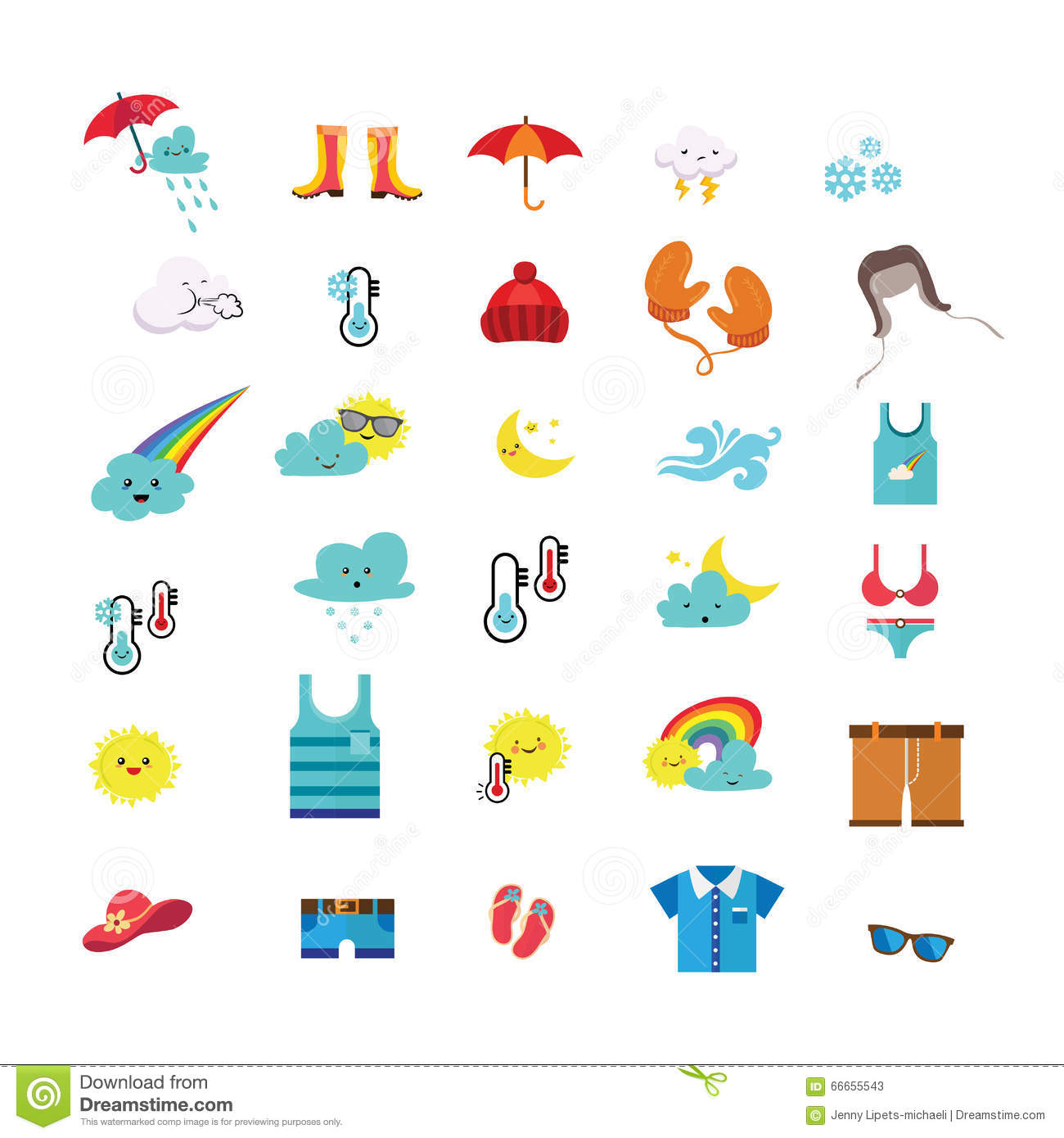 Weather Icons And Seasonal Clothes Stock Vector.