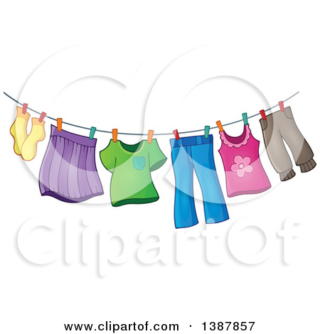 Clipart of a Clothes Line with Laundry Air Drying.