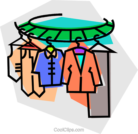 clothes on a clothes rack Royalty Free Vector Clip Art.