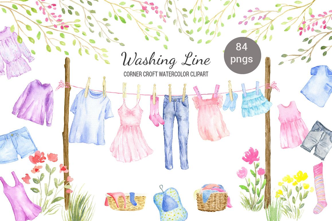 Watercolor washing line clipart, clothes line clipart, fashion clothes,  shirt, dress, jeans and pegs for instant download.