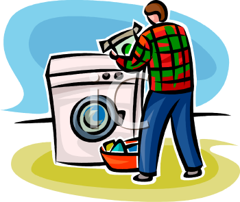 Man Doing Laundry Using a Front Loading Washing Machine or Clothes.