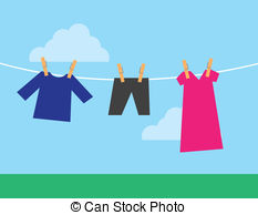 Clothes hanging clothesline Vector Clipart Royalty Free. 377.