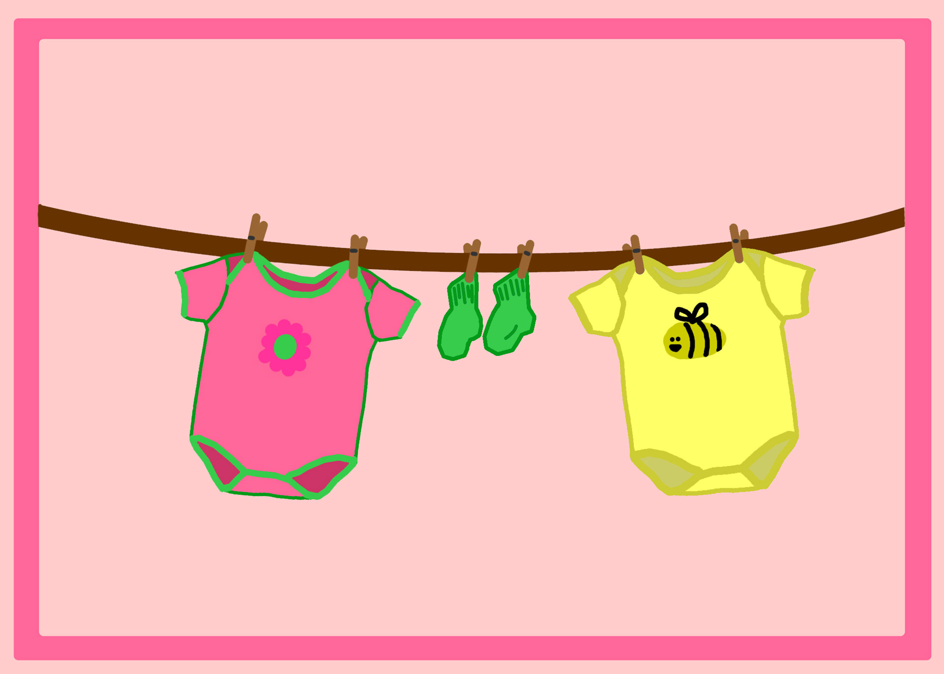 Free Baby Girl Clothesline Shower Clipart.