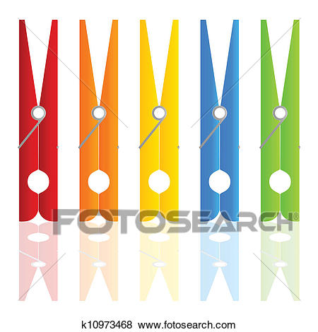 Clothespin in color vector illustration Clip Art.