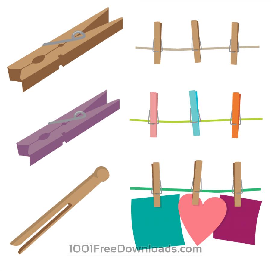 Free Vectors: Clothespins Vector Set.