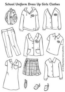 Clothing for doll dress up clipart for preschool.